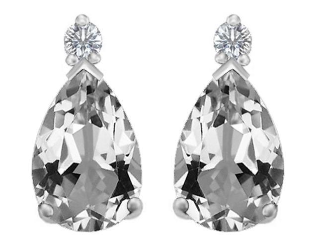 Star K 8x6mm Pear Shape Genuine White Topaz Earrings Studs in Sterling Silver