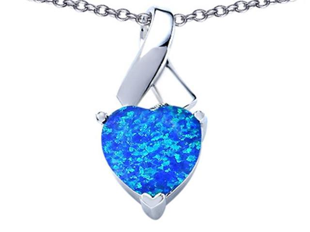 Star K 8mm Heart Shape Blue Created Opal Ribbon Pendant Necklace in Sterling Silver