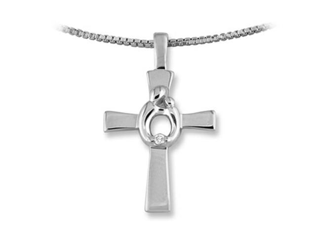 Mother and Child Cross Pendant Necklace by Janel Russell in 14 kt White Gold