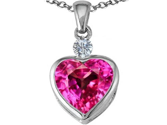 Star K 10mm Heart Shape Created Pink Sapphire Heart Pendant Necklace in Sterling Silver