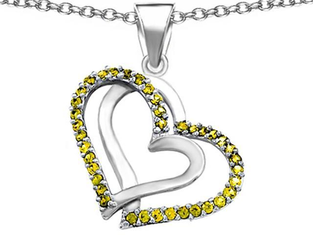 Star K Round Simulated Citrine Double Hearts Pendant in Sterling Silver