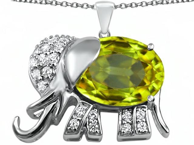 Star K Large 12x10mm Oval Simulated Peridot Good Luck Elephant Pendant in Sterling Silver