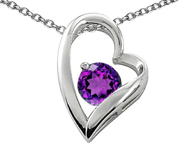 Star K 7mm Round Simulated Amethyst Heart Pendant in Sterling Silver