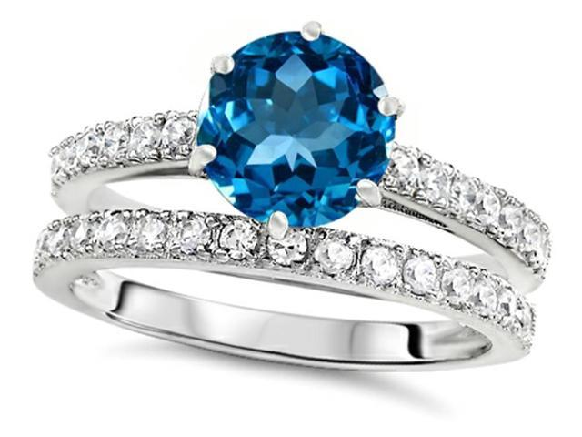 Star K Round 7mm Simulated Blue Topaz Wedding Ring in Sterling Silver Size 6
