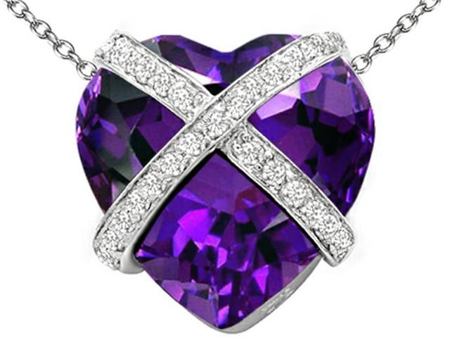 Star K Large Prisoner of Love Heart Pendant with 15mm Heart Shape Simulated Amethyst in Sterling Silver