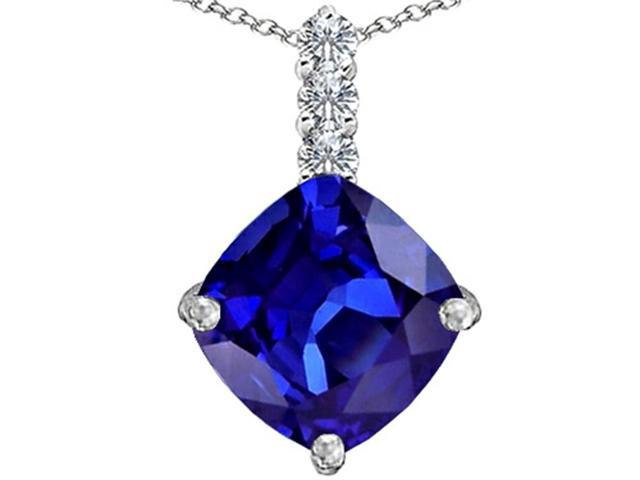 Star K Large 12mm Cushion Cut Simulated Tanzanite Pendant in Sterling Silver