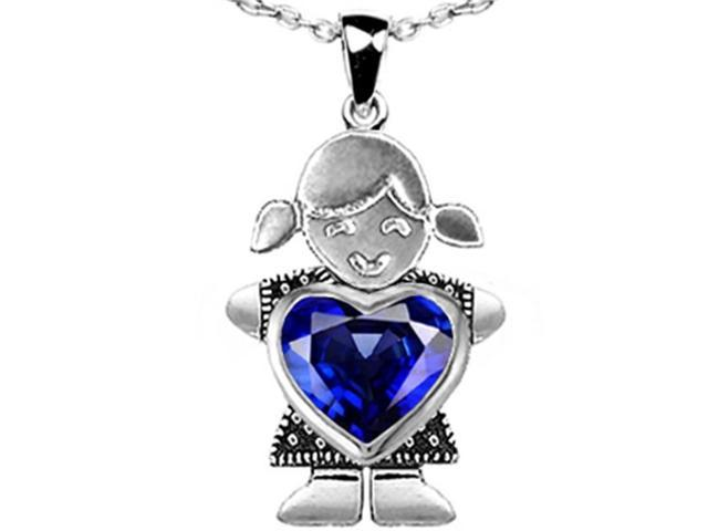 Star K Girl Holding 8mm Mother Heart September Birth Month Pendant with Created Sapphire in Sterling Silver