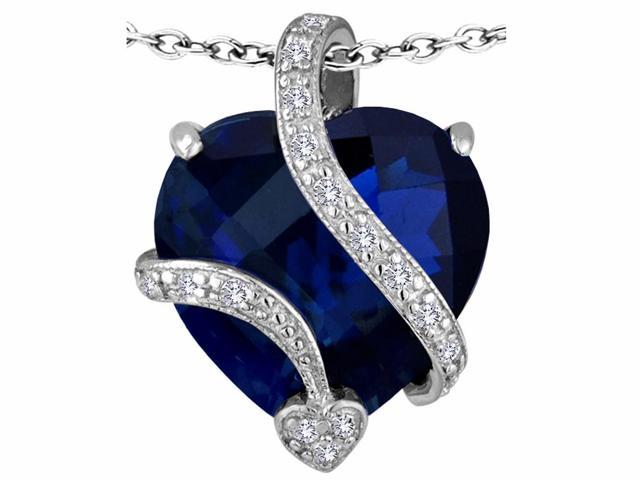 Star K(TM) Large 15mm Heart Shape Simulated Blue Sapphire Love Pendant