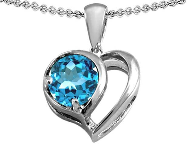 Star K Heart Shape Pendant with Round 7mm Simulated Aquamarine in Sterling Silver