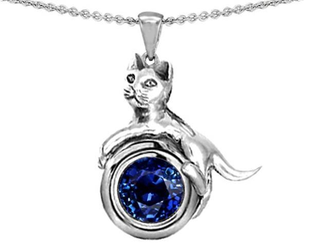 Star K Cat Lover Pendant with September Birth Month Round 7mm Created Sapphire in Sterling Silver