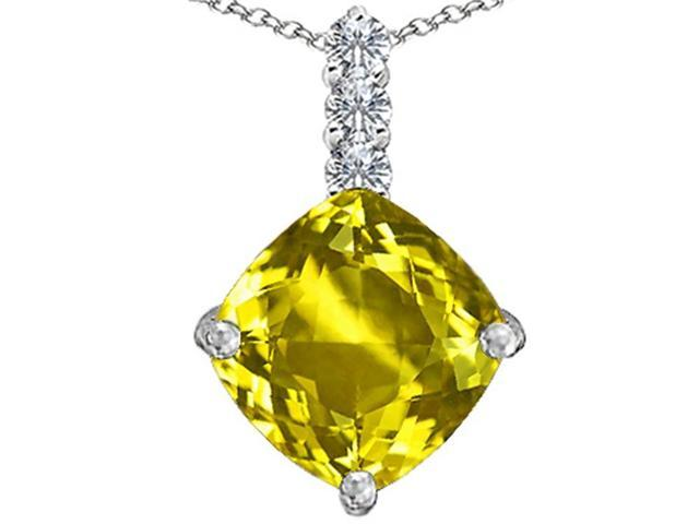 Star K Large 12mm Cushion Cut Simulated Yellow Sapphire Pendant Necklace in Sterling Silver