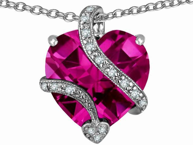 Star K Large 15mm Heart Shaped Created Pink Sapphire Love Pendant Necklace in Sterling Silver