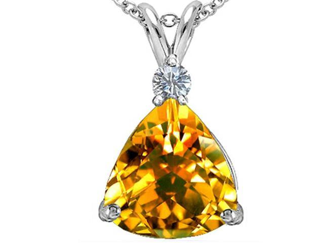 Star K Large 12mm Trillion Cut Simulated Citrine Pendant in Sterling Silver