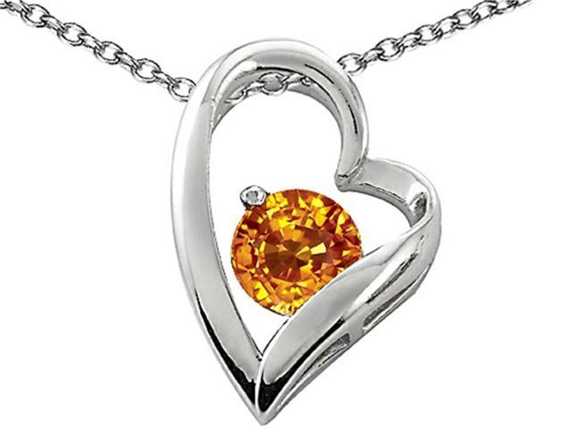 Star K 7mm Round Simulated Citrine Heart Pendant in Sterling Silver