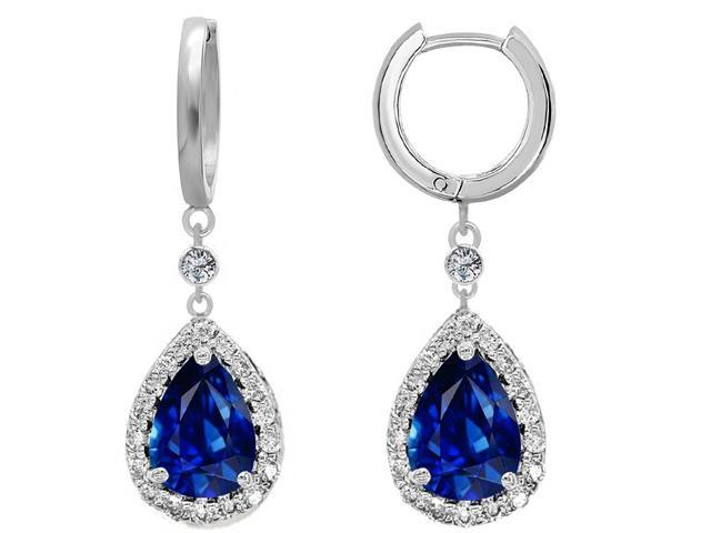 Star K Pear Shape 9x7mm Simulated Sapphire Drop Earrings Dangling On Huggie Hoop in Sterling Silver