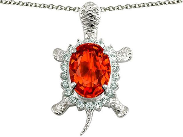 Star K Good Luck Turtle Pendant with Oval 12x10mm Simulated Mexican Fire Opal in Sterling Silver