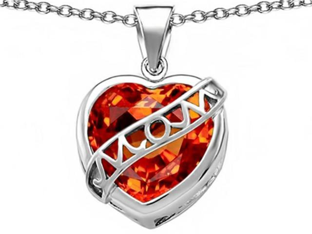 Star K Large Love Mom Mother Pendant with 15mm Heart Shape Simulated Mexican Orange Fire Opal in Sterling Silver