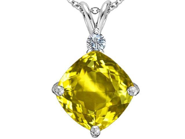 Star K Large 12mm Cushion Cut Simulated Yellow Sapphire Pendant in Sterling Silver