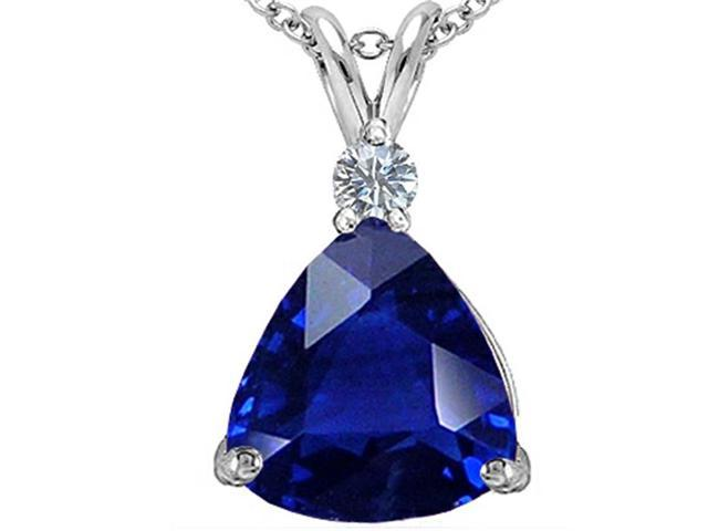 Star K Large 12mm Trillion Cut Simulated Sapphire Pendant Necklace in Sterling Silver