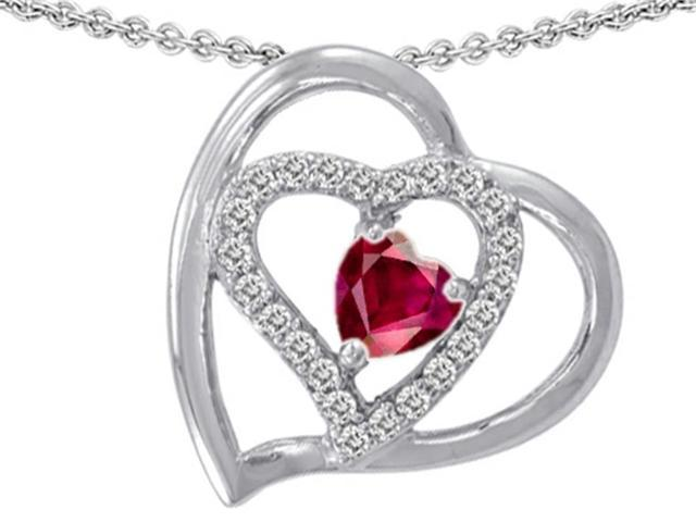 Star K 6mm Heart Shape Created Ruby Pendant in Sterling Silver