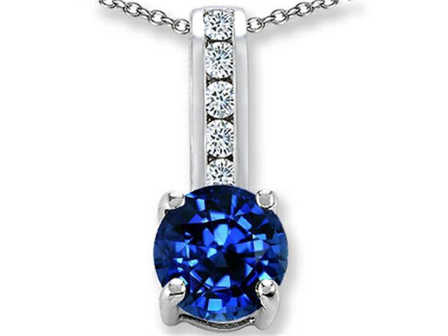 Star K Round 7mm Created Sapphire Pendant Necklace in Sterling Silver