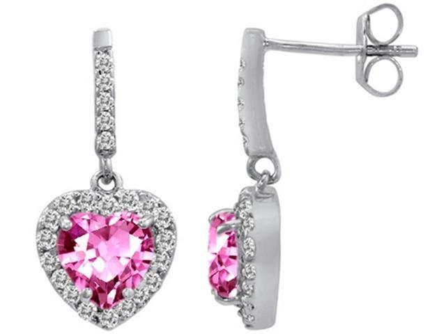Star K 6mm Heart Shape Created Pink Sapphire Dangling Heart Earrings in Sterling Silver