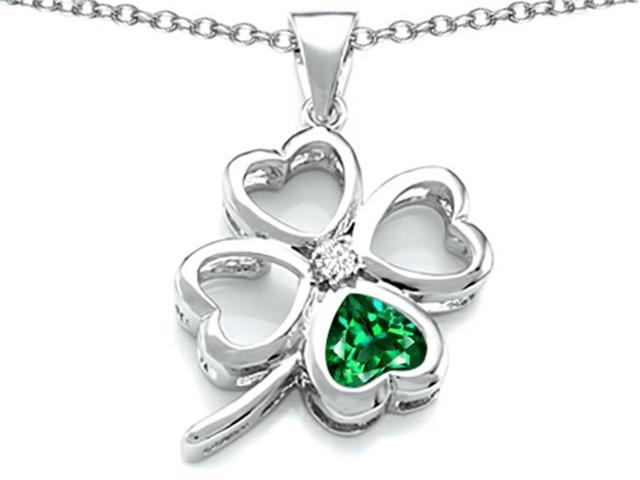 Celtic Love By Kelly Large 7mm Heart Shape Simulated Emerald Lucky Clover Heart Pendant in Sterling Silver
