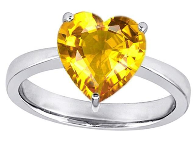 Star K Large 10mm Heart Shape Solitaire Ring with Simulated Yellow Sapphire in Sterling Silver Size 7
