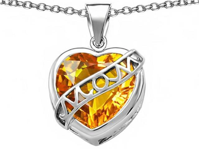 Star K Large Love Mom Mother Pendant with 15mm Heart Shape Simulated Citrine in Sterling Silver