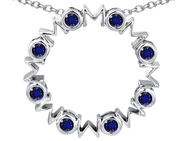 Star K Large MOM Circle Mothers pendant with Round Created Sapphire in Sterling Silver