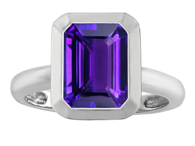 Star K 9x7mm Emerald Cut Octagon Solitaire Ring with Simulated Amethyst in Sterling Silver Size 6