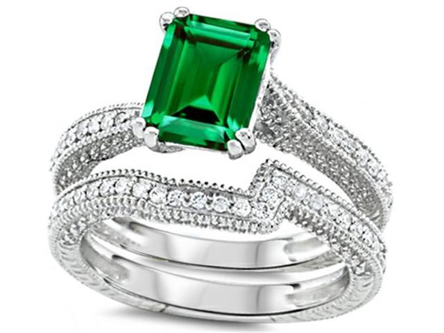 Star K Emerald Cut 8x6mm Simulated Emerald Wedding Set in Sterling Silver Size 6