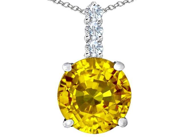 Star K Large 12mm Round Simulated Citrine Pendant in Sterling Silver