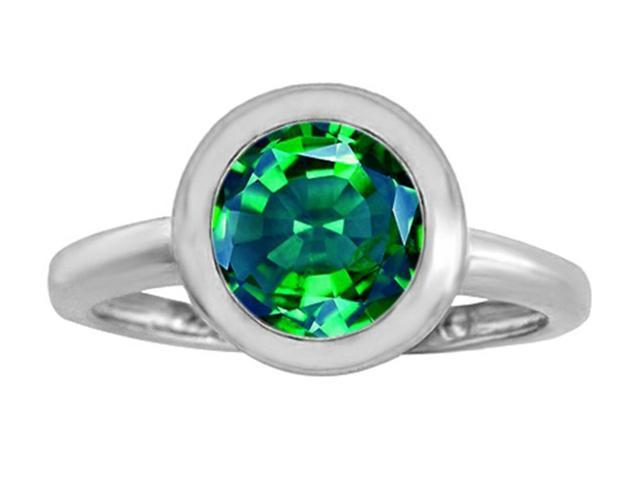Star K 8mm Round Solitaire Ring with Simulated Emerald in Sterling Silver Size 7