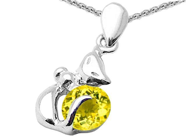 Star K Round 6mm Simulated Citrine Cat Pendant Necklace in Sterling Silver