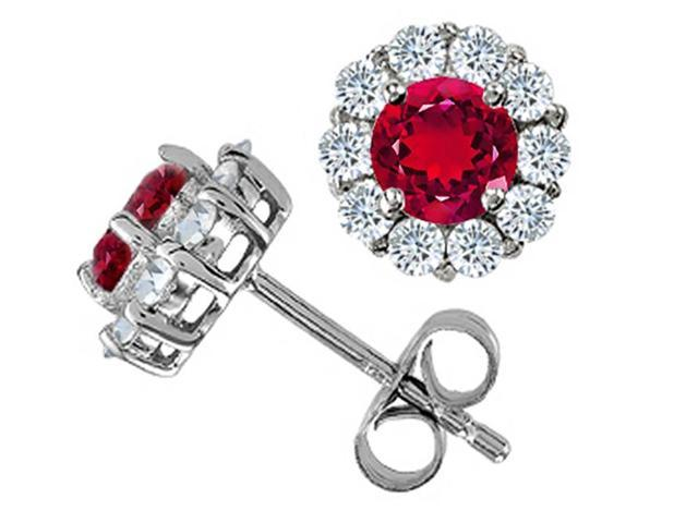 Star K Round Created Ruby Earrings in Sterling Silver