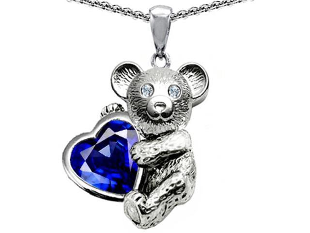 Star K Love Bear Hugging Birth Month of September 8mm Heart Shape Created Sapphire in Sterling Silver