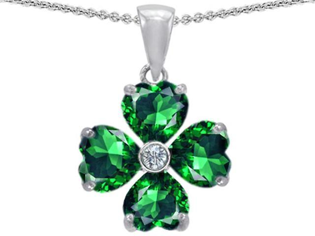 Celtic Love by Kelly 6mm Heart Shape Simulated Emerald Lucky Clover Pendant in Sterling Silver