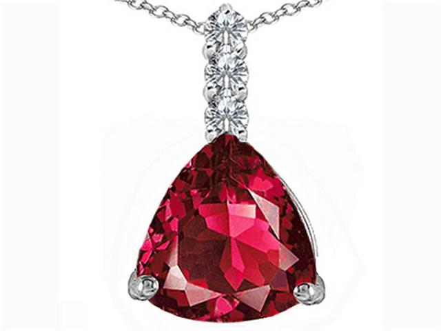 Star K Large 12mm Trillion Cut Created Ruby Pendant in Sterling Silver