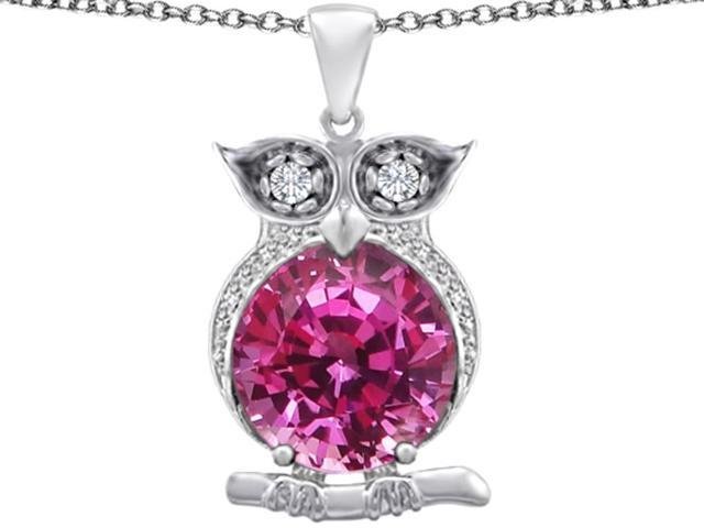 Star K Large 10mm Round Created Pink Sapphire Good luck Owl Pendant Necklace in Sterling Silver