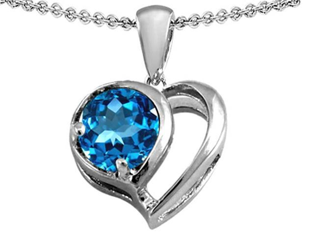 Star K Heart Shape Pendant with Round 7mm Simulated Blue Topaz in Sterling Silver