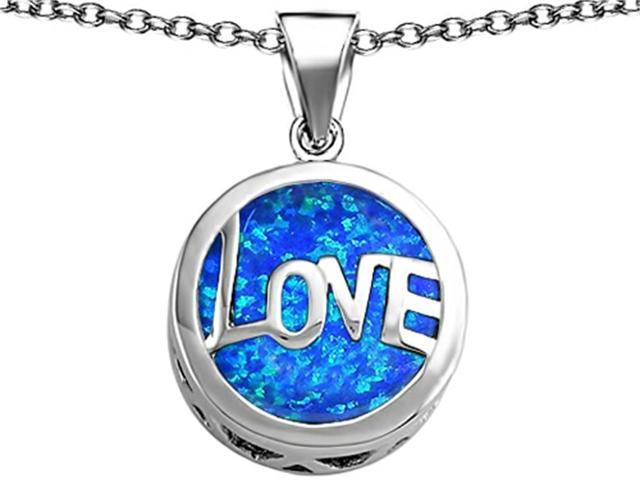 Star K Large Love Round Pendant Necklace with 15mm Round Blue Created Opal in Sterling Silver