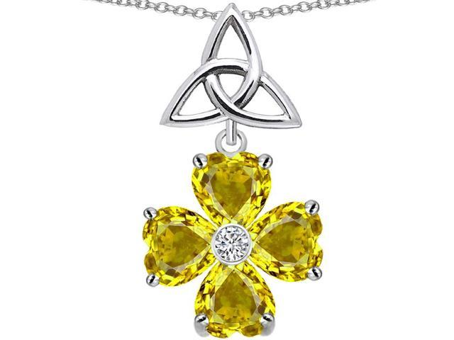Star K Lucky Shamrock Celtic Knot Made with Heart 6mm Simulated Citrine in Sterling Silver