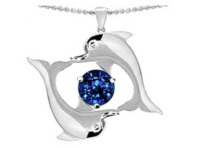 Star K Round 6mm Created Sapphire Dolphin Pendant in Sterling Silver