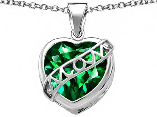 Star K Large Love Mom Mother Pendant with 15mm Heart Shape Simulated Emerald in Sterling Silver