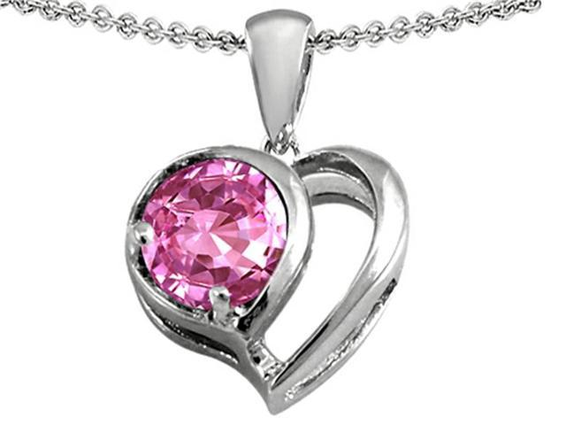 Star K Heart Shape Pendant with Round 7mm Created Pink Sapphire in Sterling Silver