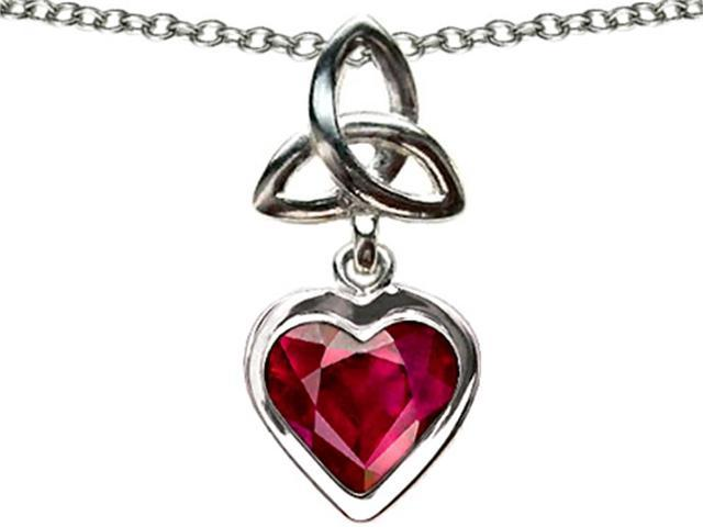 Celtic Love by Kelly Love Knot Pendant with Created Heart Ruby in Sterling Silver