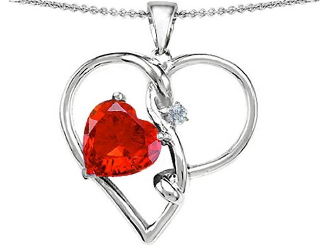 Star K Large 10mm Heart Shaped Simulated Orange Mexican Fire Opal Knotted Heart Pendant in Sterling Silver