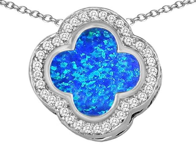 Star K Large Clover Pendant Necklace with 12mm Clover Cut Blue Created Opal in Sterling Silver
