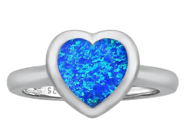 Star K 8mm Heart Shape Solitaire Ring with Simulated Blue Opal in Sterling Silver Size 7